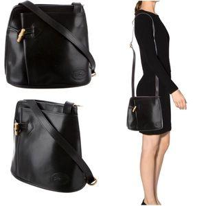 Longchamp • Vintage Leather Bamboo Crossbody Bag